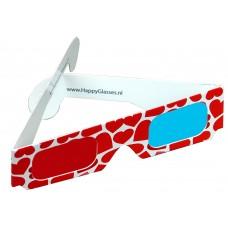 Hartjes bril rood/cyaan